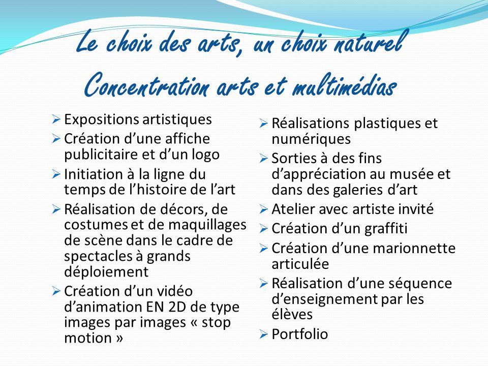 Le choix des arts, un choix naturel Concentration arts et multimédias Expositions artistiques Création dune affiche publicitaire et dun logo Initiatio