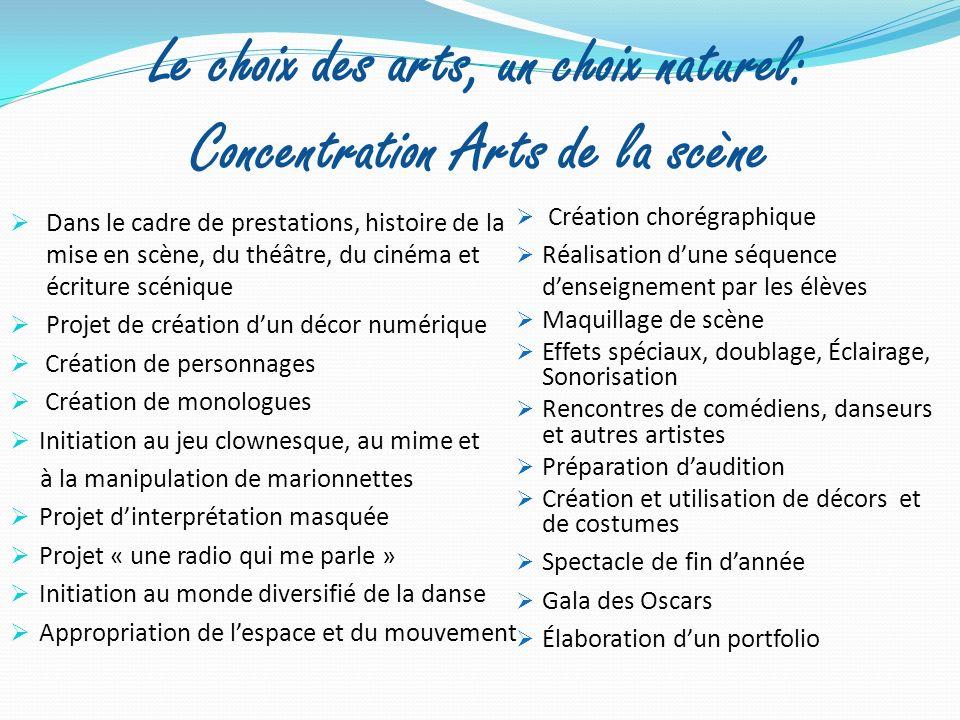 Le choix des arts, un choix naturel: Concentration Arts de la scène Dans le cadre de prestations, histoire de la mise en scène, du théâtre, du cinéma