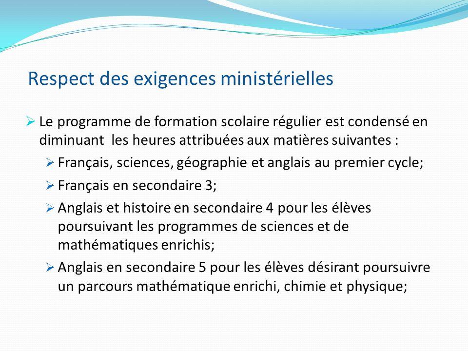 Respect des exigences ministérielles Le programme de formation scolaire régulier est condensé en diminuant les heures attribuées aux matières suivante
