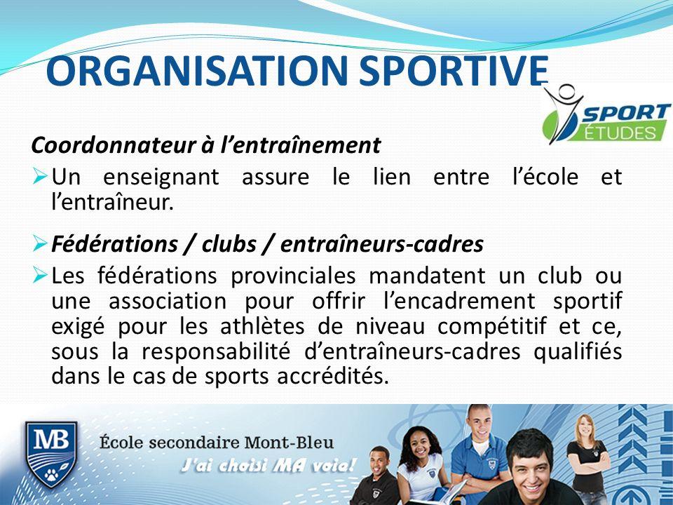 ORGANISATION SPORTIVE Coordonnateur à lentraînement Un enseignant assure le lien entre lécole et lentraîneur. Fédérations / clubs / entraîneurs-cadres