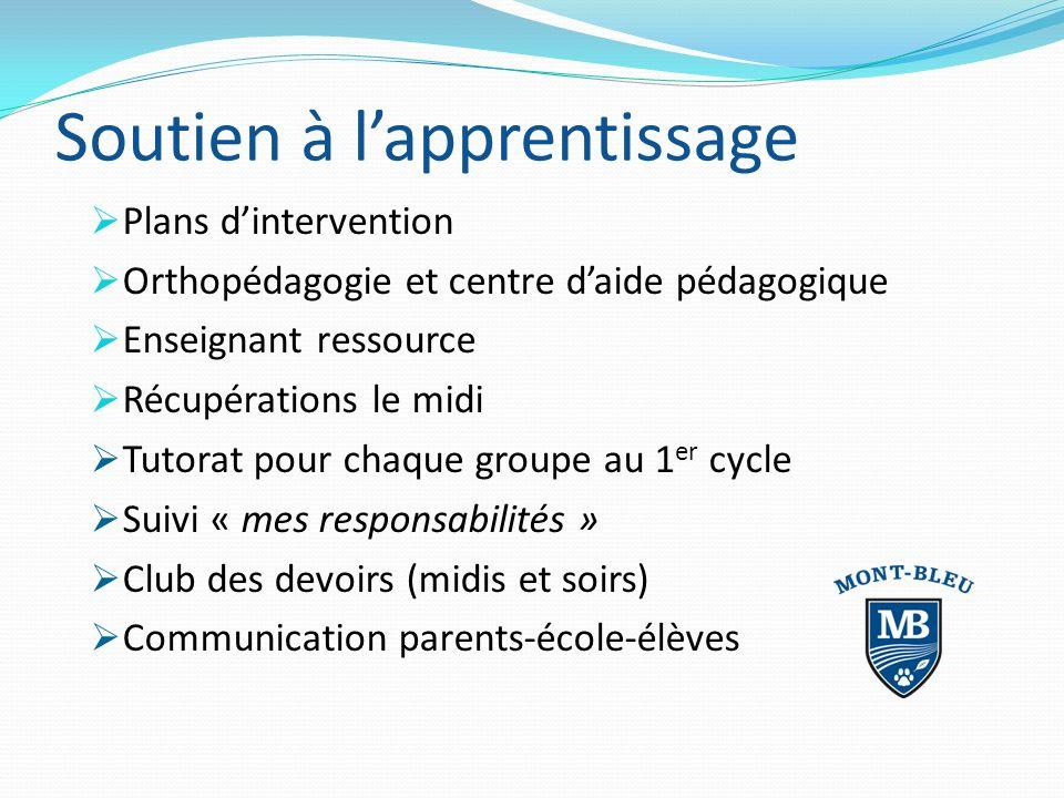Soutien à lapprentissage Plans dintervention Orthopédagogie et centre daide pédagogique Enseignant ressource Récupérations le midi Tutorat pour chaque