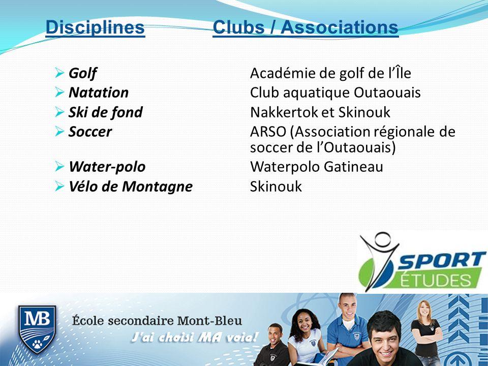 GolfAcadémie de golf de lÎle NatationClub aquatique Outaouais Ski de fondNakkertok et Skinouk SoccerARSO (Association régionale de soccer de lOutaouais) Water-poloWaterpolo Gatineau Vélo de MontagneSkinouk Disciplines Clubs / Associations