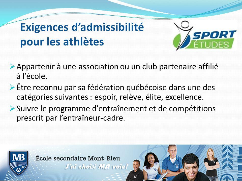 Exigences dadmissibilité pour les athlètes Appartenir à une association ou un club partenaire affilié à lécole. Être reconnu par sa fédération québéco
