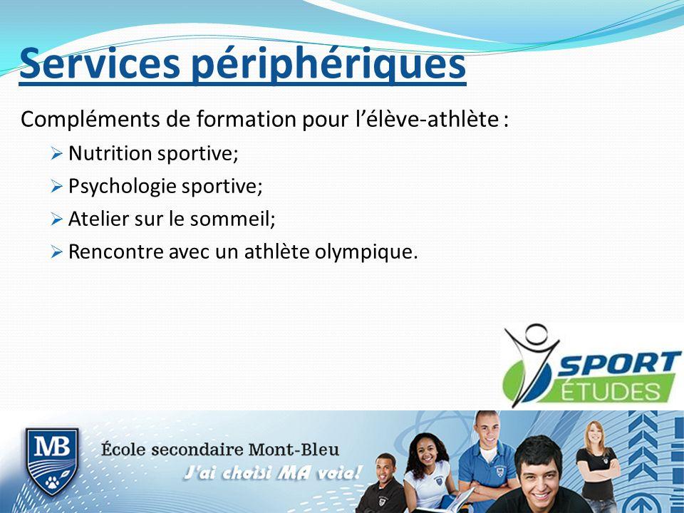 Services périphériques Compléments de formation pour lélève-athlète : Nutrition sportive; Psychologie sportive; Atelier sur le sommeil; Rencontre avec