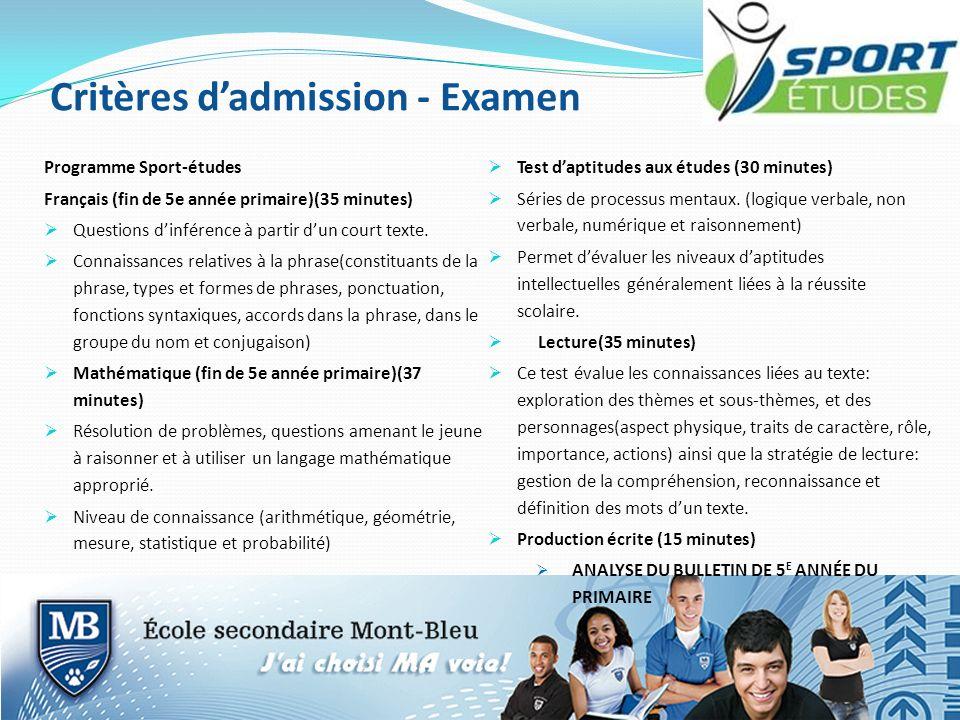 Critères dadmission - Examen Programme Sport-études Français (fin de 5e année primaire)(35 minutes) Questions dinférence à partir dun court texte. Con