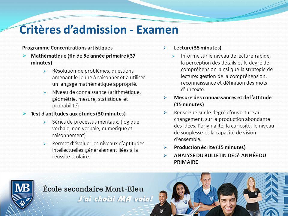 Critères dadmission - Examen Programme Concentrations artistiques Mathématique (fin de 5e année primaire)(37 minutes) Résolution de problèmes, questio