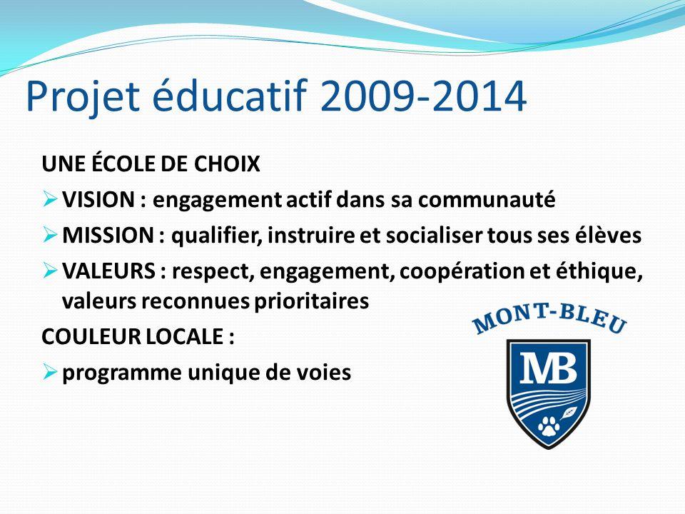 Projet éducatif 2009-2014 UNE ÉCOLE DE CHOIX VISION : engagement actif dans sa communauté MISSION : qualifier, instruire et socialiser tous ses élèves