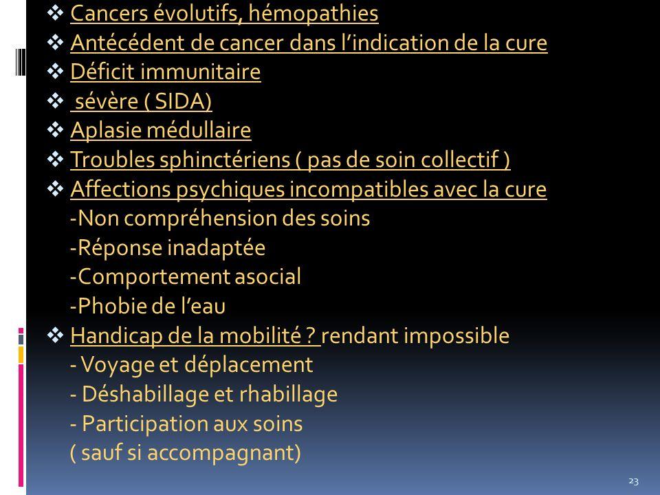 Cancers évolutifs, hémopathies Antécédent de cancer dans lindication de la cure Déficit immunitaire sévère ( SIDA) Aplasie médullaire Troubles sphinct