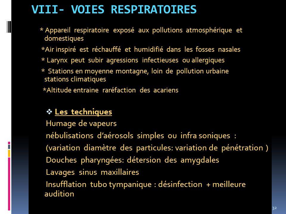 VIII- VOIES RESPIRATOIRES * Appareil respiratoire exposé aux pollutions atmosphérique et domestiques *Air inspiré est réchauffé et humidifié dans les
