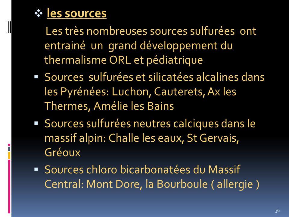 les sources Les très nombreuses sources sulfurées ont entrainé un grand développement du thermalisme ORL et pédiatrique Sources sulfurées et silicatée