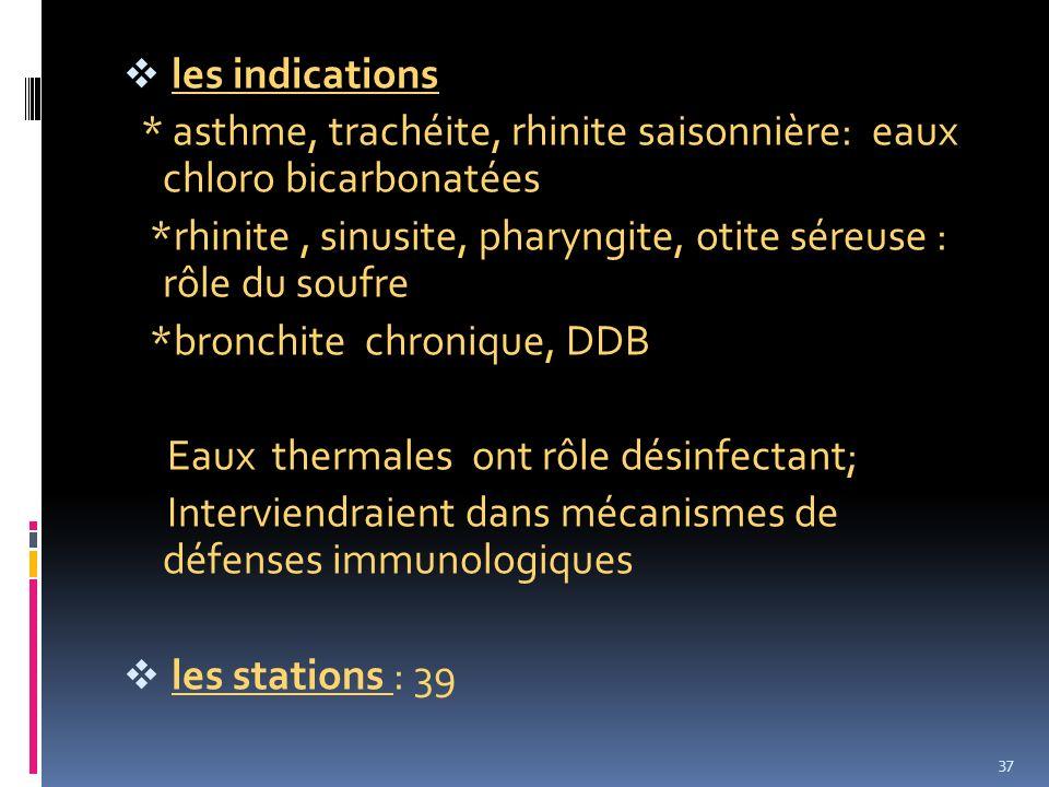 les indications * asthme, trachéite, rhinite saisonnière: eaux chloro bicarbonatées *rhinite, sinusite, pharyngite, otite séreuse : rôle du soufre *br