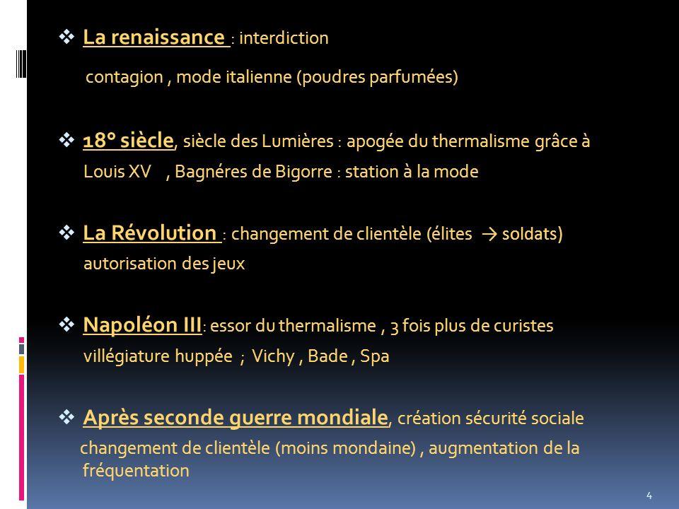 La renaissance : interdiction contagion, mode italienne (poudres parfumées) 18° siècle, siècle des Lumières : apogée du thermalisme grâce à Louis XV,