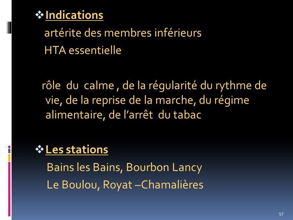 Indications artérite des membres inférieurs HTA essentielle rôle du calme, de la régularité du rythme de vie, de la reprise de la marche, du régime al