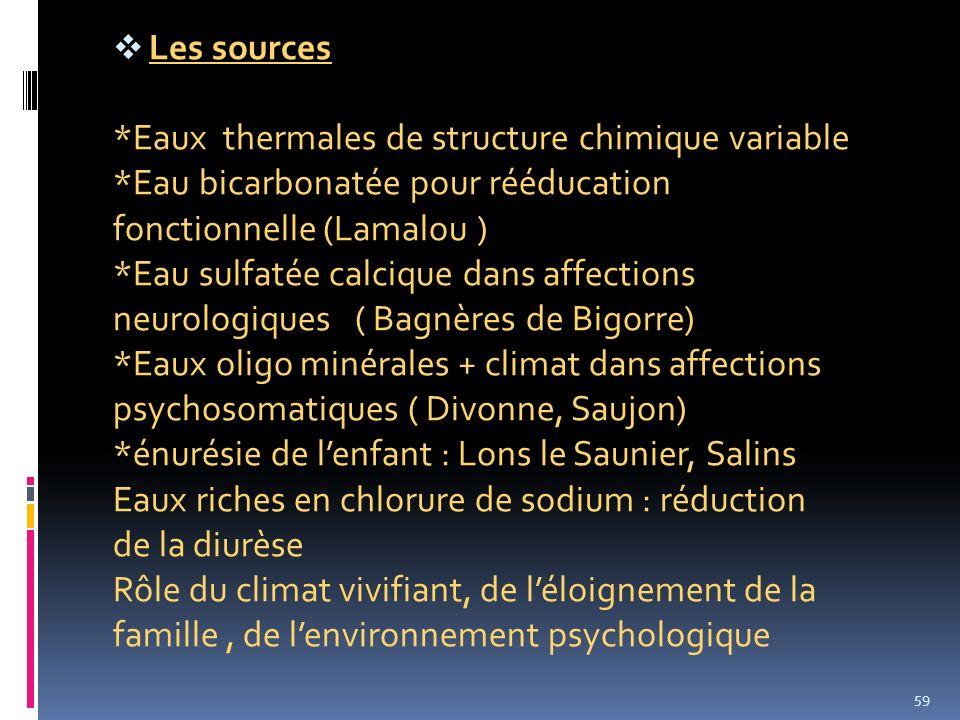 Les sources *Eaux thermales de structure chimique variable *Eau bicarbonatée pour rééducation fonctionnelle (Lamalou ) *Eau sulfatée calcique dans aff