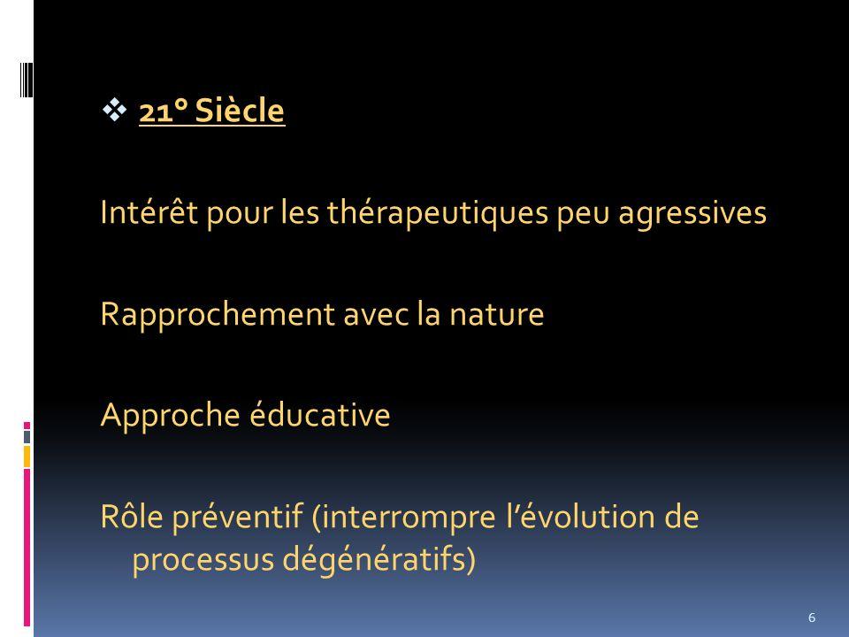 21° Siècle Intérêt pour les thérapeutiques peu agressives Rapprochement avec la nature Approche éducative Rôle préventif (interrompre lévolution de pr