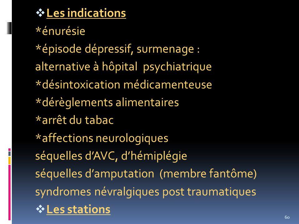 Les indications *énurésie *épisode dépressif, surmenage : alternative à hôpital psychiatrique *désintoxication médicamenteuse *dérèglements alimentair