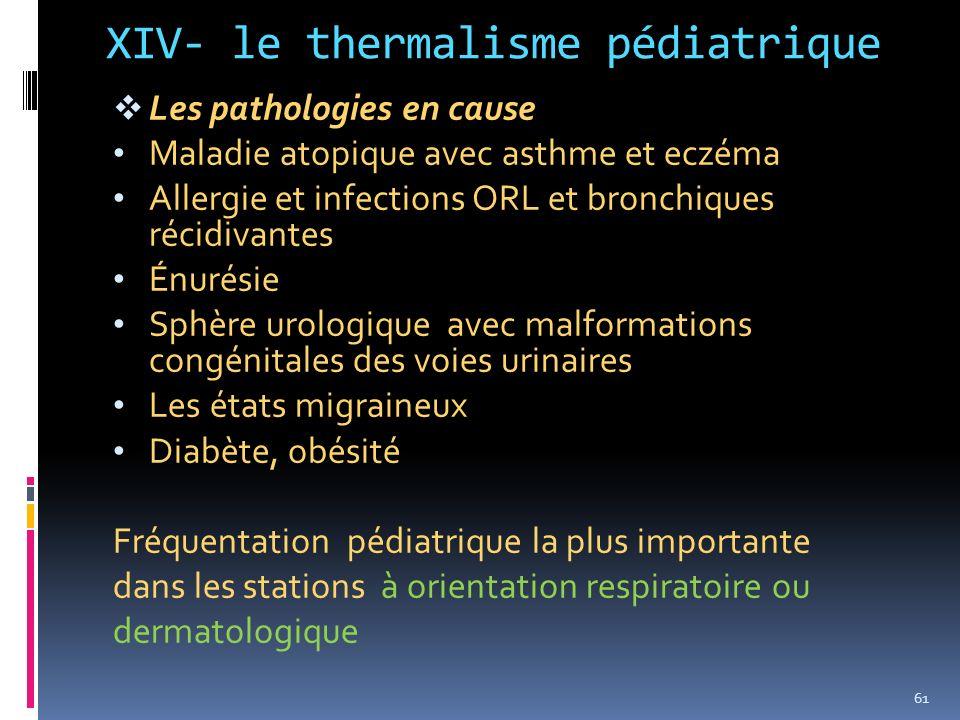 XIV- le thermalisme pédiatrique Les pathologies en cause Maladie atopique avec asthme et eczéma Allergie et infections ORL et bronchiques récidivantes