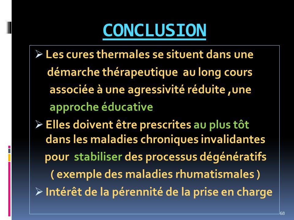 CONCLUSION Les cures thermales se situent dans une démarche thérapeutique au long cours associée à une agressivité réduite,une approche éducative Elle