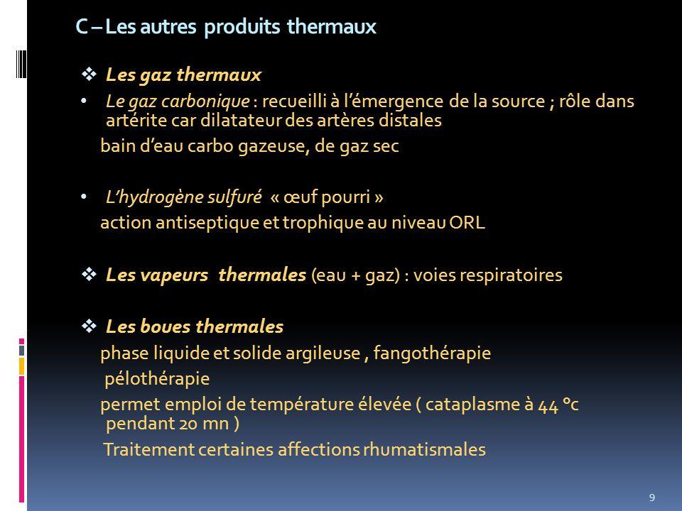 C – Les autres produits thermaux Les gaz thermaux Le gaz carbonique : recueilli à lémergence de la source ; rôle dans artérite car dilatateur des artè