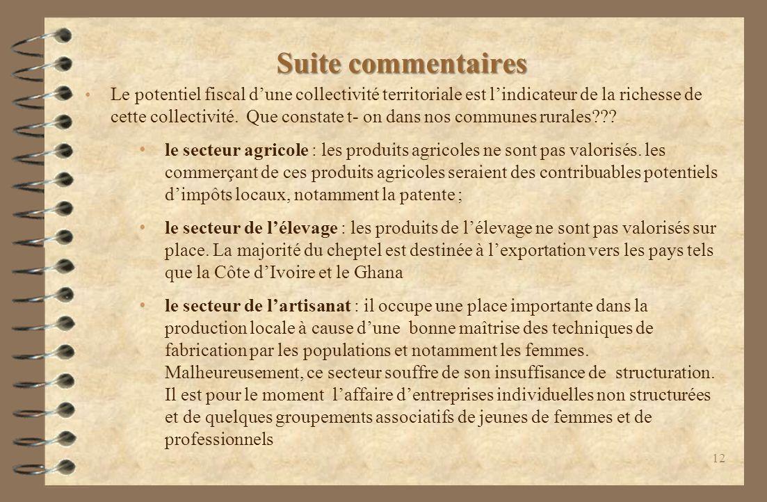 Suite commentaires Le potentiel fiscal dune collectivité territoriale est lindicateur de la richesse de cette collectivité.