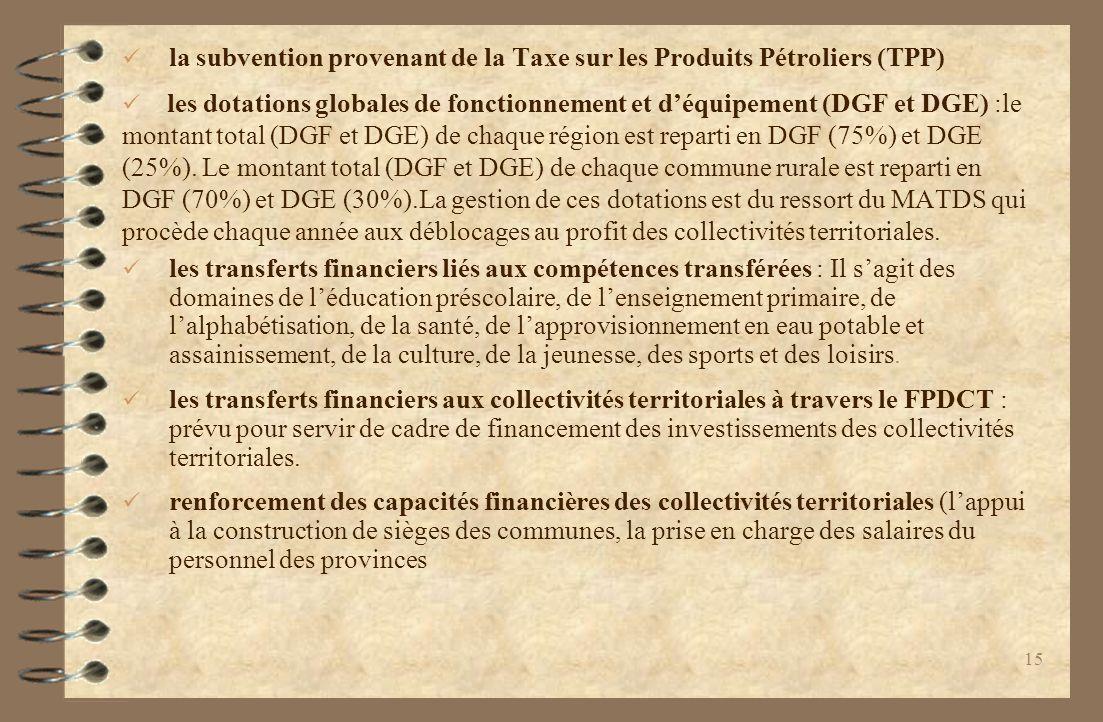 la subvention provenant de la Taxe sur les Produits Pétroliers (TPP) les dotations globales de fonctionnement et déquipement (DGF et DGE) :le montant total (DGF et DGE) de chaque région est reparti en DGF (75%) et DGE (25%).