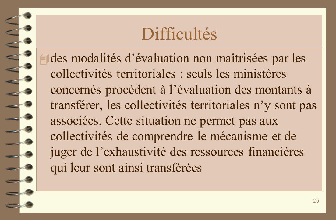Difficultés 4 des modalités dévaluation non maîtrisées par les collectivités territoriales : seuls les ministères concernés procèdent à lévaluation des montants à transférer, les collectivités territoriales ny sont pas associées.