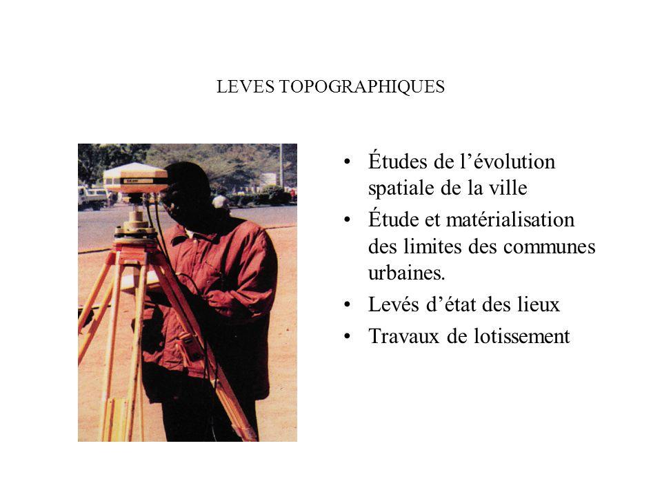 LEVES TOPOGRAPHIQUES Études de lévolution spatiale de la ville Étude et matérialisation des limites des communes urbaines. Levés détat des lieux Trava