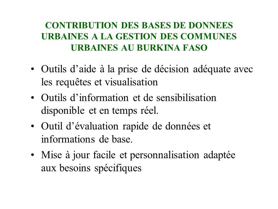 CONTRIBUTION DES BASES DE DONNEES URBAINES A LA GESTION DES COMMUNES URBAINES AU BURKINA FASO Outils daide à la prise de décision adéquate avec les re