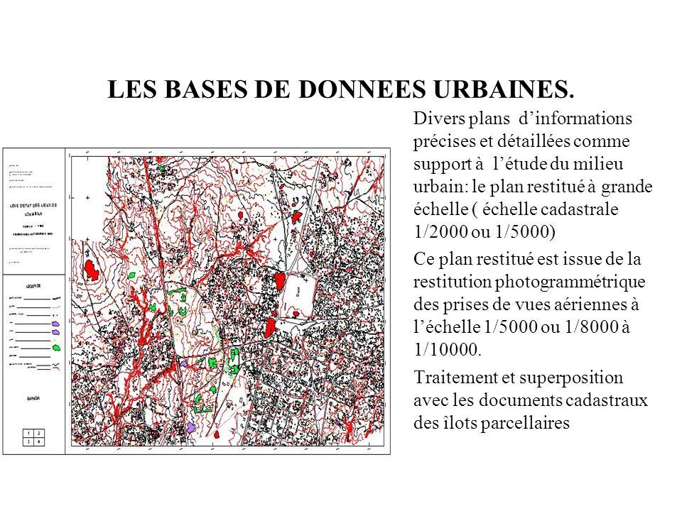 LES BASES DE DONNEES URBAINES. Divers plans dinformations précises et détaillées comme support à létude du milieu urbain: le plan restitué à grande éc