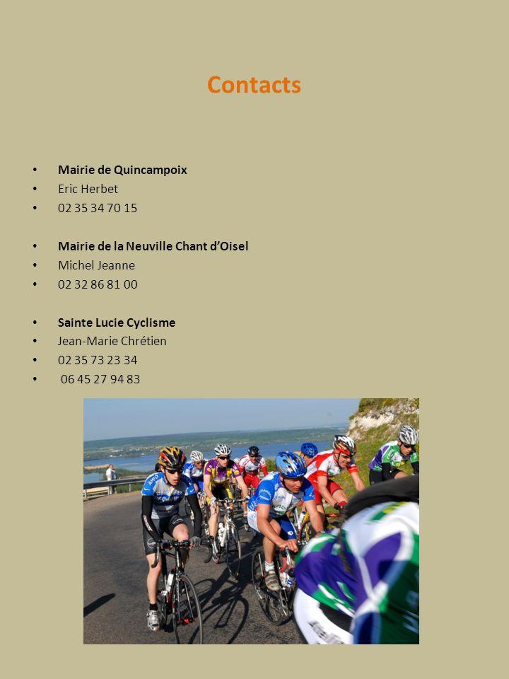 Contacts Mairie de Quincampoix Eric Herbet 02 35 34 70 15 Mairie de la Neuville Chant dOisel Michel Jeanne 02 32 86 81 00 Sainte Lucie Cyclisme Jean-M