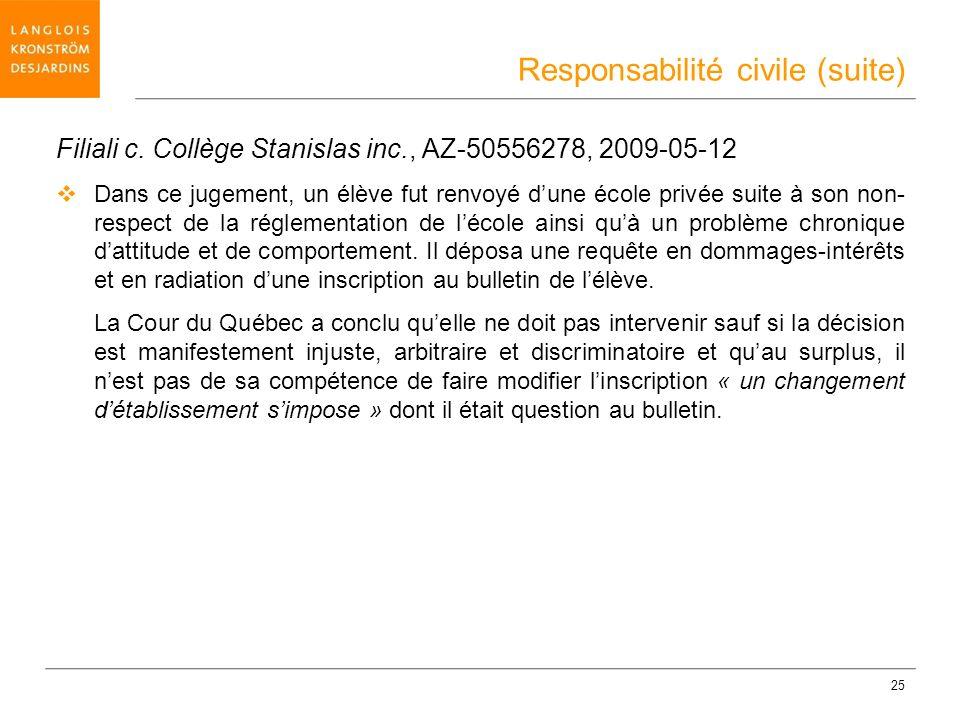 25 Filiali c. Collège Stanislas inc., AZ-50556278, 2009-05-12 Dans ce jugement, un élève fut renvoyé dune école privée suite à son non- respect de la
