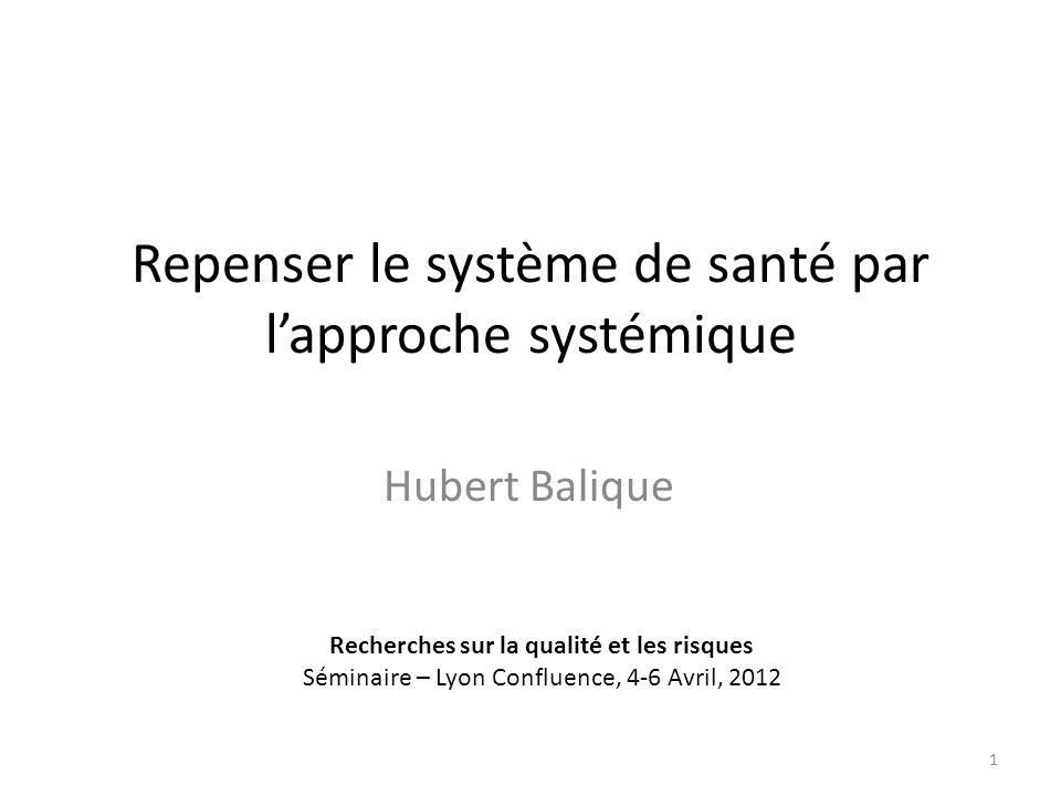 Repenser le système de santé par lapproche systémique Hubert Balique Recherches sur la qualité et les risques Séminaire – Lyon Confluence, 4-6 Avril, 2012 1