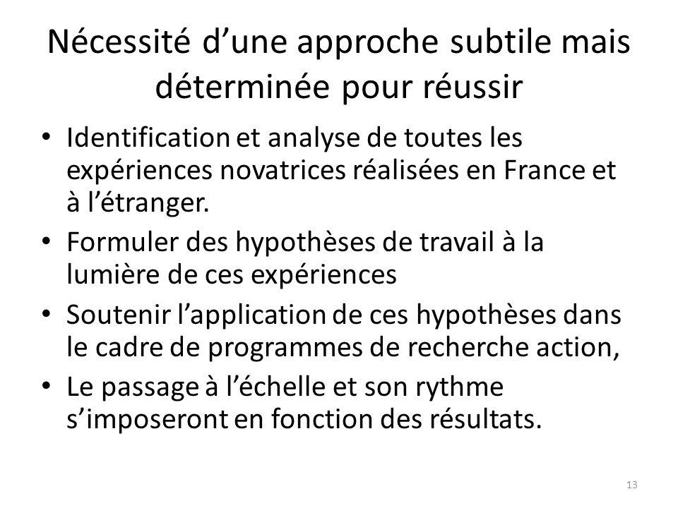Nécessité dune approche subtile mais déterminée pour réussir Identification et analyse de toutes les expériences novatrices réalisées en France et à l