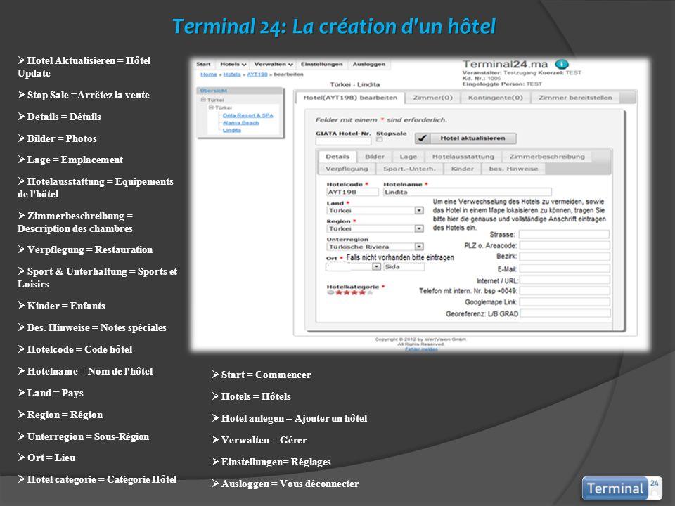 Terminal 24: La création d'un hôtel Start = Commencer Hotels = Hôtels Hotel anlegen = Ajouter un hôtel Verwalten = Gérer Einstellungen= Réglages Auslo