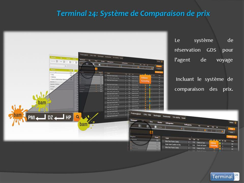 Le système de réservation GDS pour l'agent de voyage Incluant le système de comparaison des prix. Terminal 24: Système de Comparaison de prix Terminal