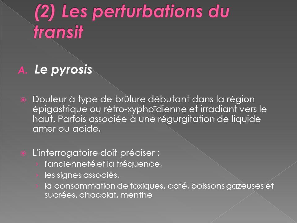 A. Le pyrosis Douleur à type de brûlure débutant dans la région épigastrique ou rétro-xyphoïdienne et irradiant vers le haut. Parfois associée à une r