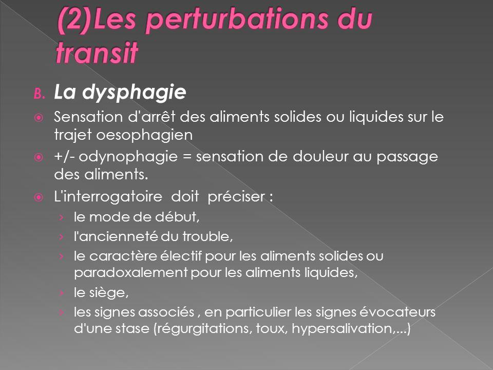 B. La dysphagie Sensation d'arrêt des aliments solides ou liquides sur le trajet oesophagien +/- odynophagie = sensation de douleur au passage des ali
