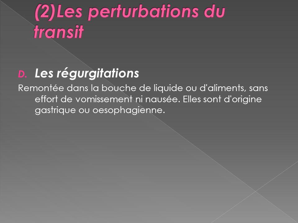 D. Les régurgitations Remontée dans la bouche de liquide ou d'aliments, sans effort de vomissement ni nausée. Elles sont d'origine gastrique ou oesoph