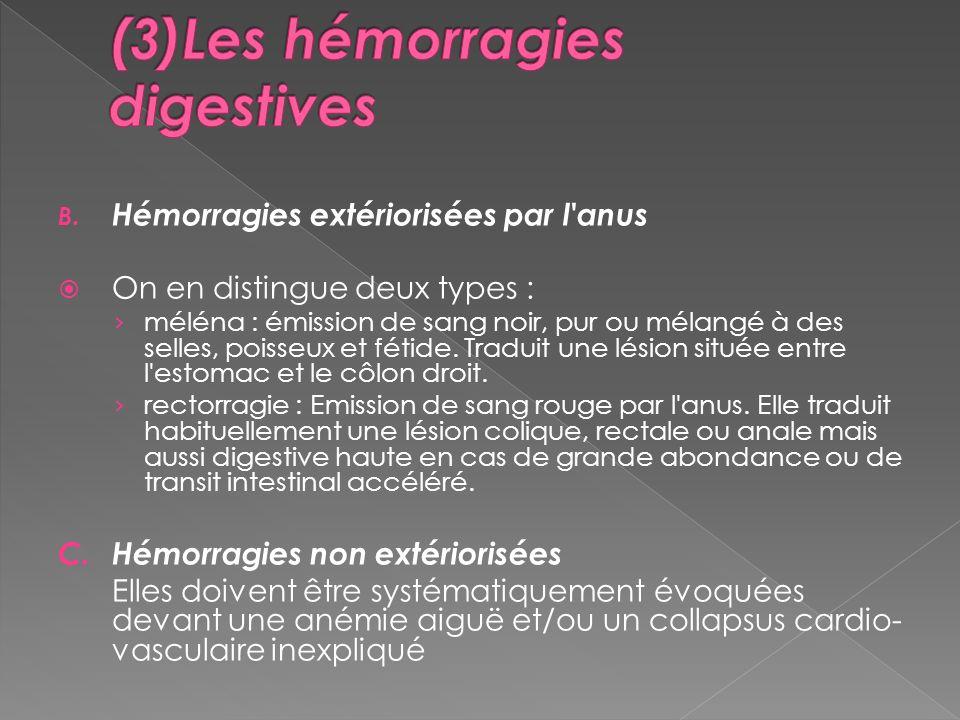 B. Hémorragies extériorisées par l'anus On en distingue deux types : méléna : émission de sang noir, pur ou mélangé à des selles, poisseux et fétide.