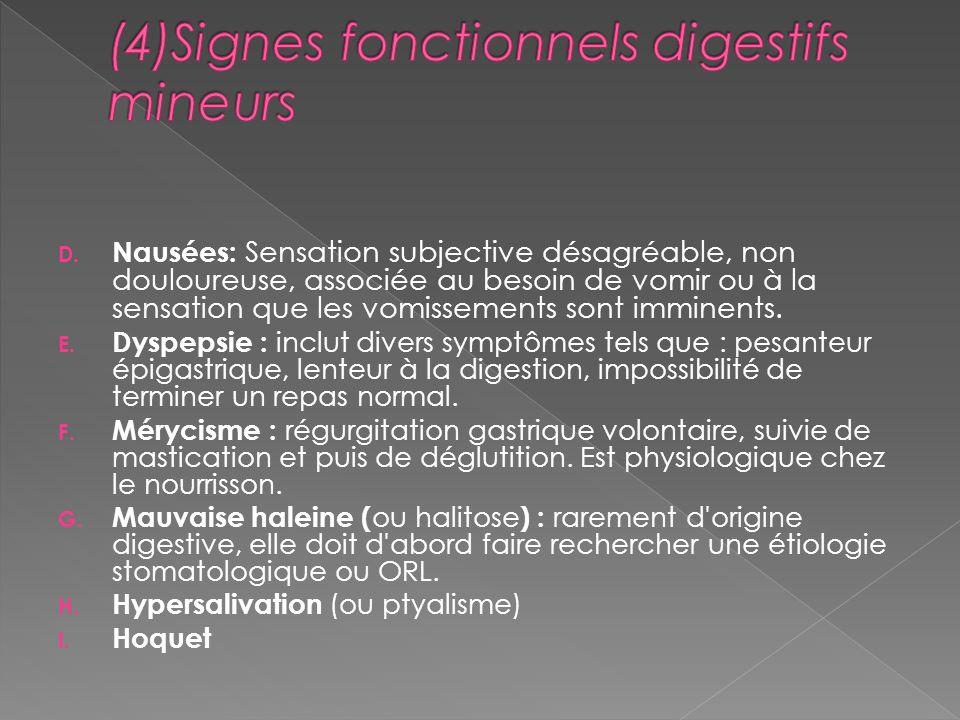 D. Nausées: Sensation subjective désagréable, non douloureuse, associée au besoin de vomir ou à la sensation que les vomissements sont imminents. E. D