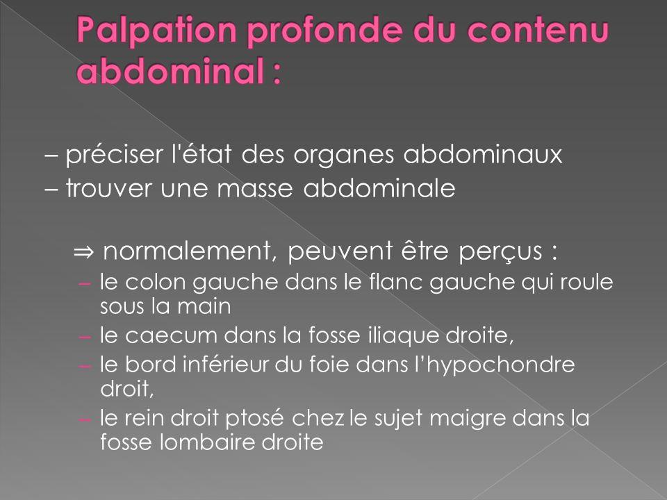– préciser l'état des organes abdominaux – trouver une masse abdominale normalement, peuvent être perçus : – le colon gauche dans le flanc gauche qui