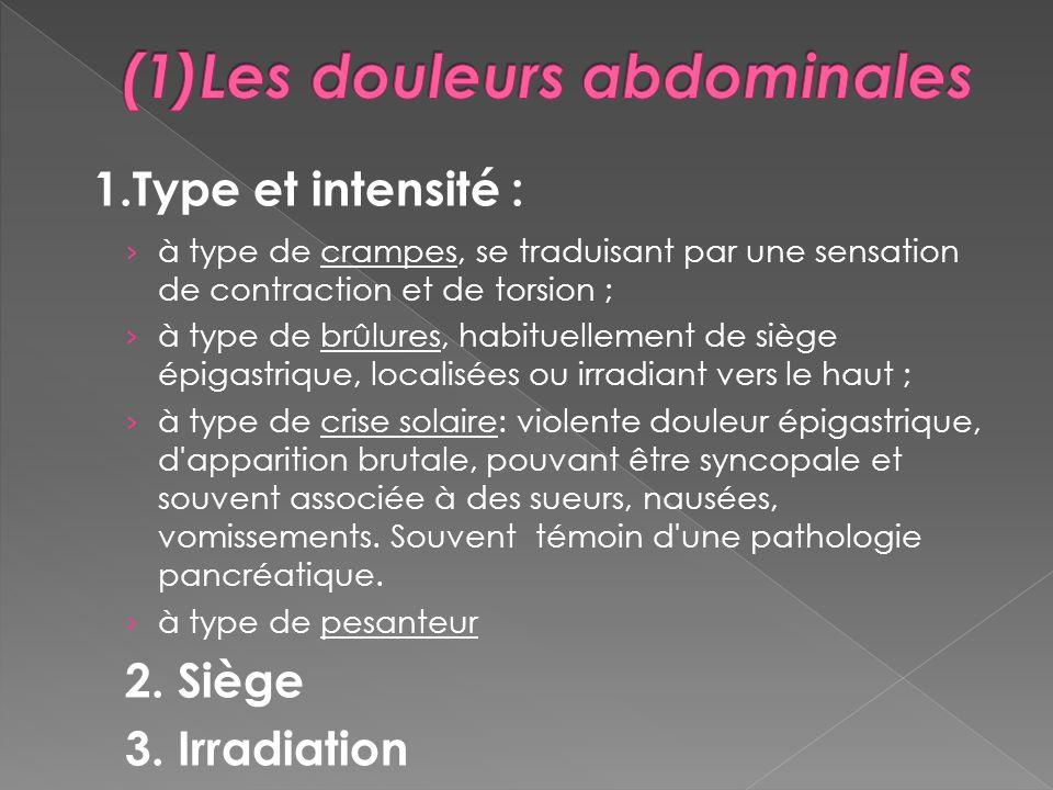 1.Type et intensité : à type de crampes, se traduisant par une sensation de contraction et de torsion ; à type de brûlures, habituellement de siège ép