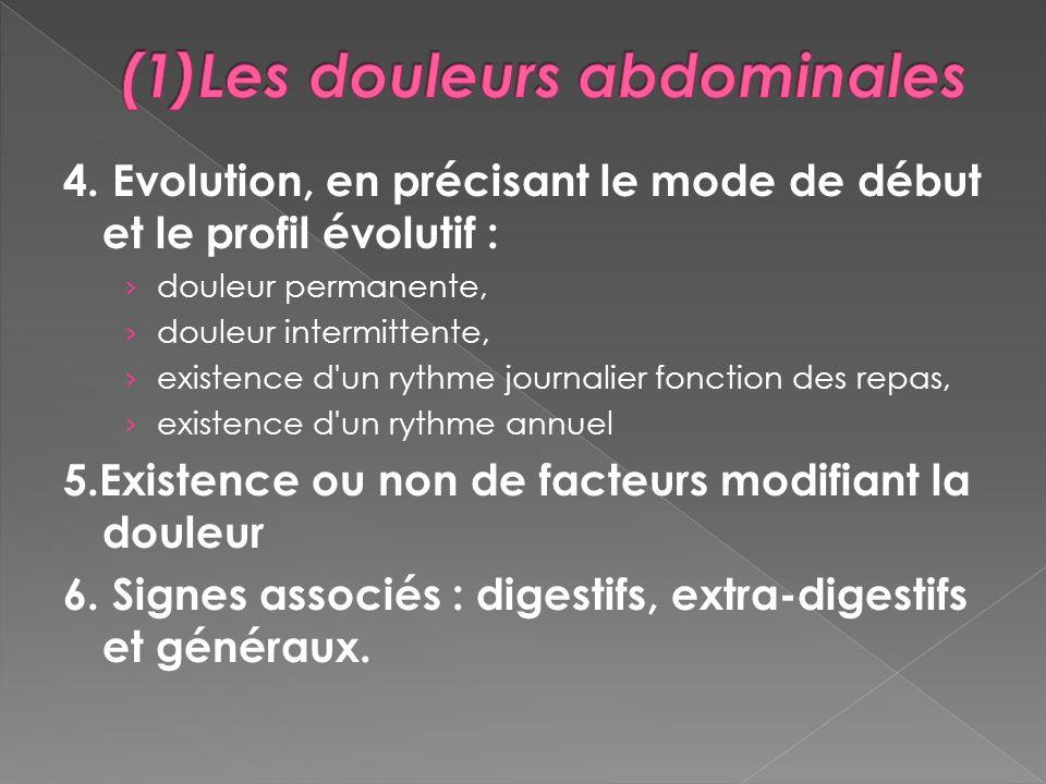 4. Evolution, en précisant le mode de début et le profil évolutif : douleur permanente, douleur intermittente, existence d'un rythme journalier foncti