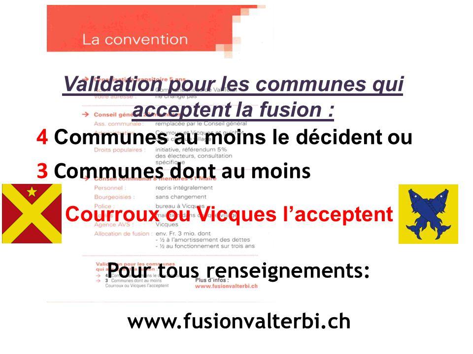 Pour tous renseignements: www.fusionvalterbi.ch Validation pour les communes qui acceptent la fusion : 4 Communes au moins le décident ou 3 Communes dont au moins Courroux ou Vicques lacceptent