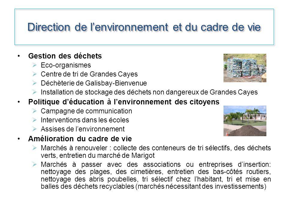 Direction de lenvironnement et du cadre de vie Gestion des déchets Eco-organismes Centre de tri de Grandes Cayes Déchèterie de Galisbay-Bienvenue Inst