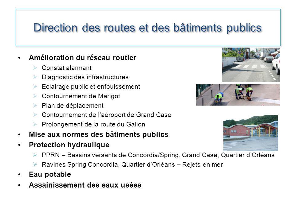 Direction des routes et des bâtiments publics Amélioration du réseau routier Constat alarmant Diagnostic des infrastructures Eclairage public et enfou