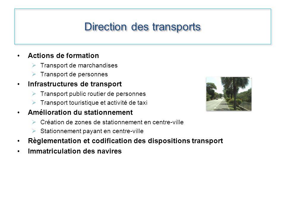 Direction des transports Actions de formation Transport de marchandises Transport de personnes Infrastructures de transport Transport public routier d