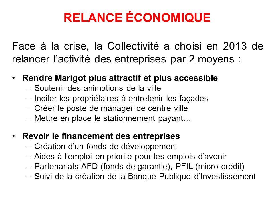 RELANCE ÉCONOMIQUE Face à la crise, la Collectivité a choisi en 2013 de relancer lactivité des entreprises par 2 moyens : Rendre Marigot plus attracti