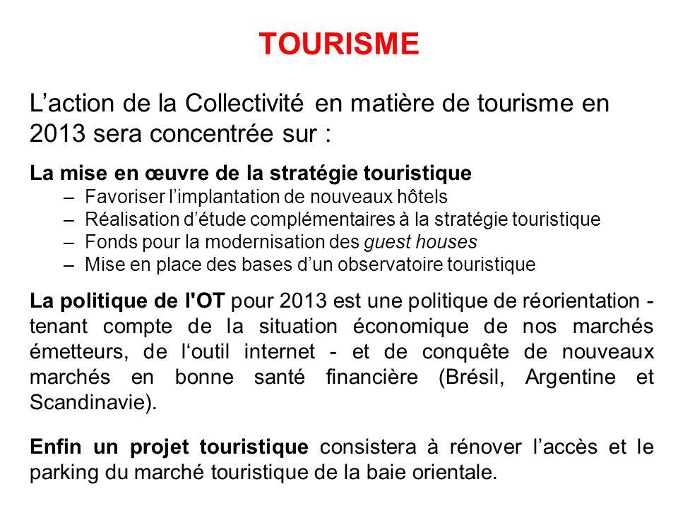 TOURISME Laction de la Collectivité en matière de tourisme en 2013 sera concentrée sur : La mise en œuvre de la stratégie touristique –Favoriser limpl