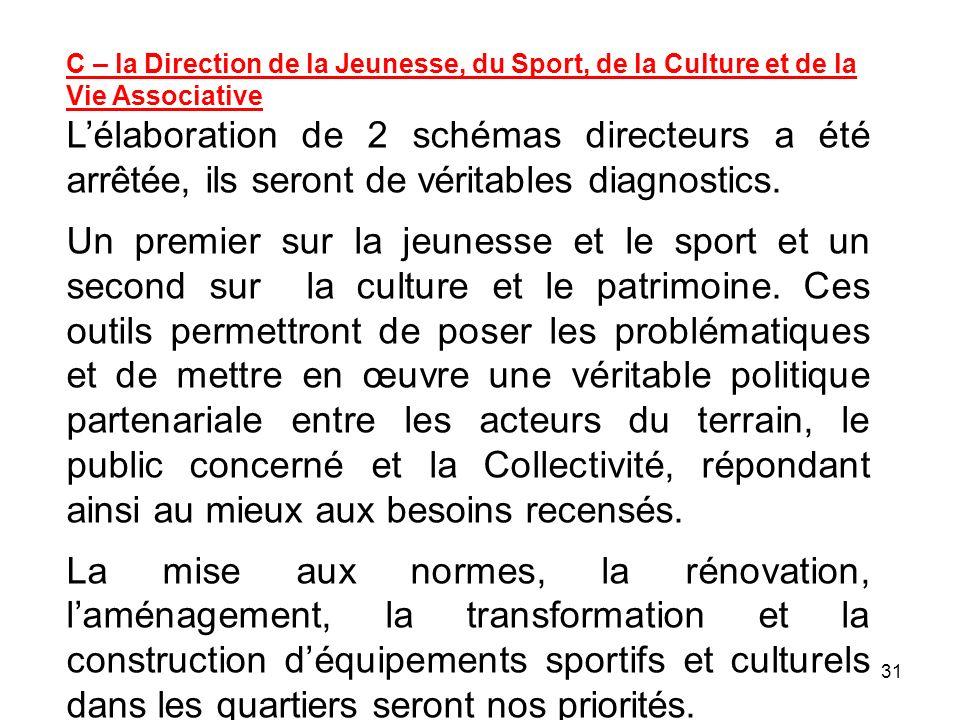 31 C – la Direction de la Jeunesse, du Sport, de la Culture et de la Vie Associative Lélaboration de 2 schémas directeurs a été arrêtée, ils seront de
